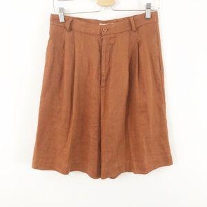 Vintage Linen Rust Orange Extra High Rise Shorts